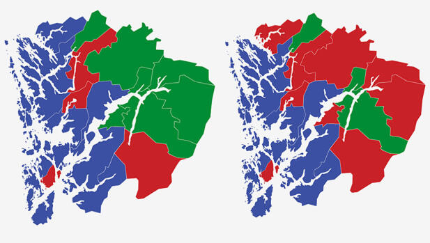 HORDALAND: Kartene viser største parti i kommunene i Hordaland ved stortingsvalget i 2017 (t.v.) og 2013. Rød farge er Arbeiderpartiet, blått er Høyre og grønt er Senterpartiet. Grafikk: TV 2.