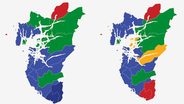 ROGALAND: Kartene viser største parti i kommunene i Rogaland ved stortingsvalget i 2017 (t.v.) og 2013. Lyse blått er Høyre, mørke blått Fremskrittspartiet, rød farge er Arbeiderpartiet, gult er Kristelig Folkeparti og grønt er Senterpartiet. Grafikk: TV 2.