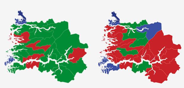 SOGN OG FJORDANE: Kartet viser største parti i kommunene i Sogn og Fjordane ved stortingsvalget i 2017 (t.v) og 2013. Grønn farge er Senterpartiet, rød farge er Arbeiderpartiet og lyse blått er Høyre og mørke blått Fremskrittspartiet. Grafikk: TV 2.