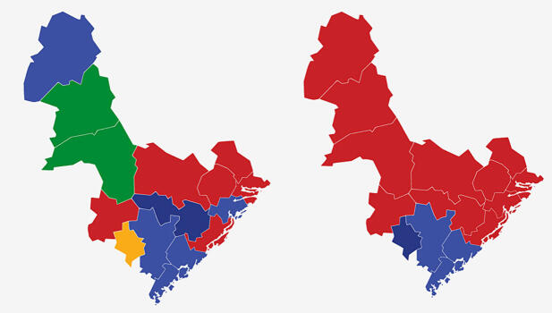 AUST-AGDER: Kartet viser største parti i kommunene i Aust-Agder ved valget i 2017 (t.v.) og 2013. Rødt er Arbeiderpartiet, lyseblått Høyre, mørkeblått Fremskrittspartiet, grønt er Senterpartiet og gult er Kristelig Folkeparti. Grafikk: TV 2.