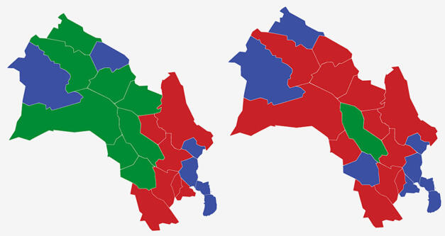 BUSKERUD: Kartet viser største parti i kommunene i Buskerud ved valget i 2017 (t.v.) og 2013. Rød farge er Arbeiderpartiet, grønt er Senterpartiet og blått Høyre. Grafikk: TV 2.