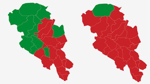 OPPLAND: Kartet viser største parti i Oppland ved valget i 2017 (t.v.) og 2013. Rødt er Arbeiderpartiet og grønt er Senterpartiet. Grafikk: TV 2.