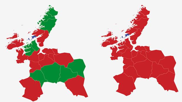 SØR-TRØNDELAG: Kartet viser største parti i Sør-Trøndelag ved valget i 2017 (t.v.) og 2013. Rødt er Arbeiderpartiet, grønt er Senterpartiet og blått Høyre. Grafikk: TV 2.