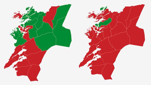 NORD-TRØNDELAG: Kartet viser største parti i Nord-Trøndelag ved valget i 2017 (t.v.) og 2013. Rødt er Arbeiderpartiet og grønt er Senterpartiet. Grafikk: TV 2.