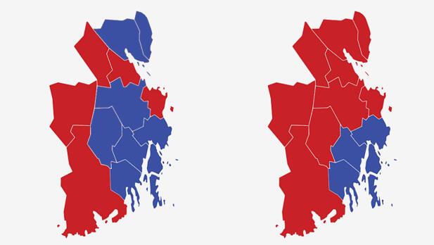 VESTFOLD: Kartet viser største parti ved stortingsvalget i Vestfold i 2017 (t.v.) og 2013. Rød farge er Arbeiderpartiet og blå farge Høyre. Grafikk: TV 2.