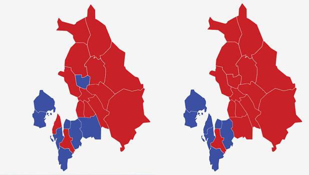 AKERSHUS: Kartet viser største parti i kommunene i Akershus ved valget i 2017 (t.v.) og 2013. Rød farge viser Arbeiderpartiet og blå farge viser Høyre. Grafikk: TV 2.