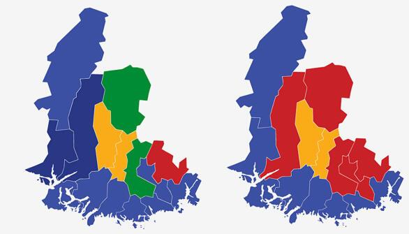 VEST-AGDER: Kartet viser største parti i kommunene i Vest-Agder ved valget i 2017 (t.v.) og 2013. Lyse blå farge er Høyre, mørkeblå er Fremskrittspartiet, gul er Kristelig Folkeparti, grønn Senterpartiet og rød Arbeiderpartiet.