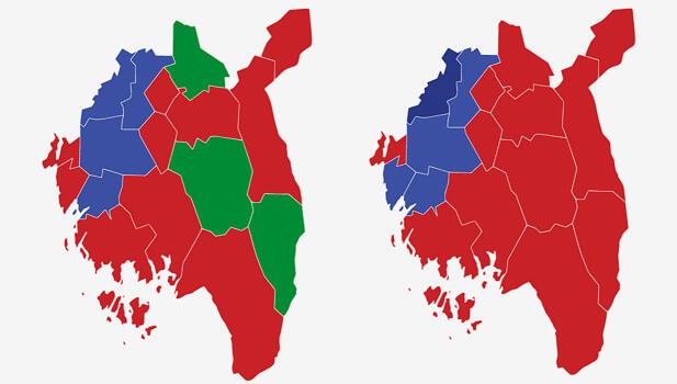 ØSTFOLD: Kartet viser største parti i kommunene i Østfold ved valget i 2017 (t.v.) og 2013. Rød farge er Arbeiderpartiet, lyseblå er Høyre, mørkeblå er Fremskrittspartiet og grønn Senterpartiet. Grafikk: TV 2.