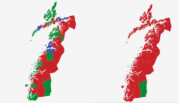 STØRST: Kartet viser største parti i kommunene i Nordland ved valget i 2017 (t.v.) og 2013. Rød farge er Arbeiderpartiet, grønn er Senterpartiet og blå er Høyre. Grafikk: TV 2.