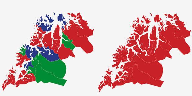 TROMS´: Kartet viser største parti i kommunene i Troms ved valget i 2017 (t.v.) og 2013. Rød farge er Arbeiderpartiet, blå er Fremskrittspartiet og grønn Senterpartiet. Grafikk: TV 2.