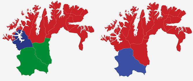 FINNMARK: Kartet viser største parti i kommunene i Finnmark ved valget i 2017 (t.v.) og 2013. Rød farge er Arbeiderpartiet, lyseblå er Høyre, mørkeblå er Fremskrittspartiet og grønt er Senterpartiet. Grafikk: TV 2.