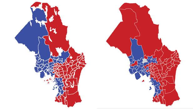 OSLO: Kartet viser største parti i valgkretsene i Oslo i 2017 (t.v.) og 2013. Rød farge er Arbeiderpartiet og blå farge Høyre. De to store kretsene øverst på kartet er Sørkedalen (t.v.) og Maridalen. Kartet fra 2017 Inneholder vann i marka. Grafikk: TV 2.