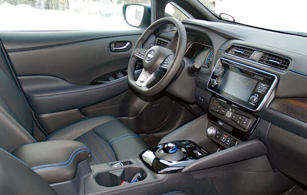 Interiøret har fått en betydelig oppgradering siden forrige generasjon av Leaf.