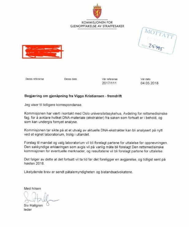 BREVET: Dette brevet er sendt fra kommisjonens leder til påtalemyndigheten og bitandsadvokatene i saken.